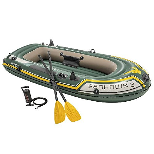 Intex Seahawk 4 - Set de barco hinchable y remos, 351 x 145 x 48 cm