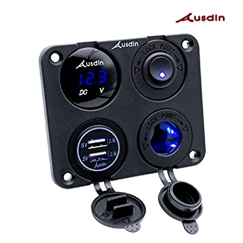 Toggle Switch Panel,Ausdin Dual USB Socket 4.2A Charger Blue LED Voltmeter 12V Power Outlet ON-OFF Toggle Switch Four Functions Panel for Car Boat Marine RV Truck Camper Vehicles GPS