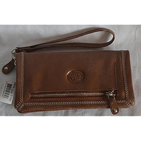 Mic Mac Cartera de cuero marrón Used Look Smartph One compartimento Espejo XXL Varios compartimentos