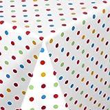 WACHSTUCH TISCHDECKE abwischbar Meterware, Größe wählbar, 100x140 cm, Glatt Punkte Bunt Weiss