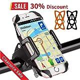 BIGO Soporte Móvil para Bicicleta Motocicleta Universal Apoyo 360 Rotación,con 2 Silicona Banda, Brazo Ajustable Compatible con todos los moviles iPhone, Galaxy, Dispositivo del GPS etc
