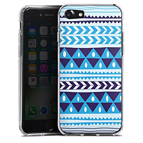 Apple iPhone X Silikon Hülle Case Schutzhülle Dreiecke Blau Muster Silikon Case transparent