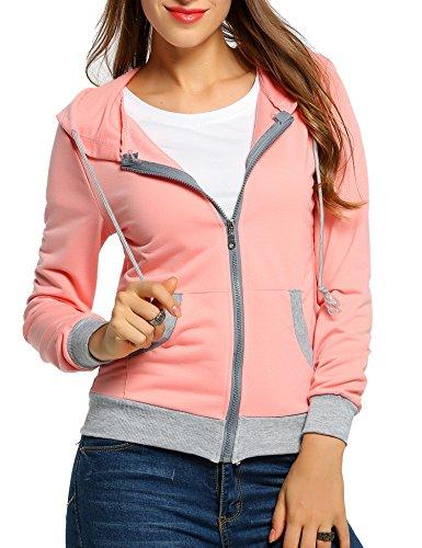 CRAVOG Nouvelle mode femmes hiver sweat-shirt à capuche pull pull manteau pull à capuch Rose