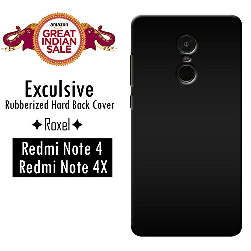 Roxel Premium Colourfull 3D Rubberised Matte Finishing Hard Case Back Cover with Hard Protection Corners for Redmi Note 4, Black