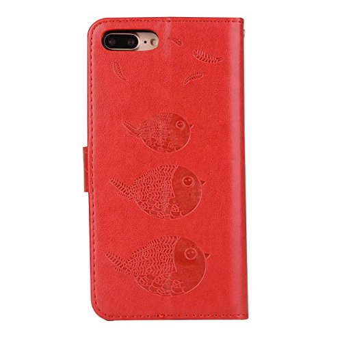 Embossing Bird Pattern PU Ledertasche mit abnehmbarem Back Cover, Flip Stand Wllet Tasche mit Lanyard & Card Slots für iPhone 7 Plus ( Color : Rosegold ) Red