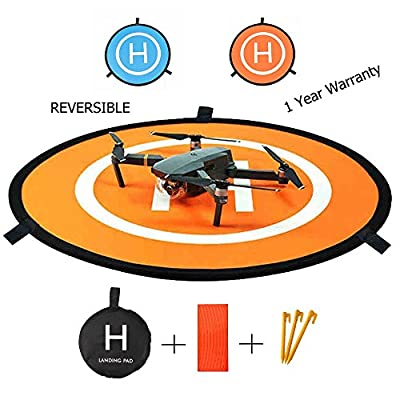 "RC Drone Landing Pad 30""/75cm Impact Protection Waterproof/Dirtproof Fast-Fold Portable Reversible Collapsible Helipad Launch Pad Drone Launch Mat for DJI Spark Mavic Pro Phantom 2/3/4/4 Pro Inspire 1 and Other Drones by Auban"