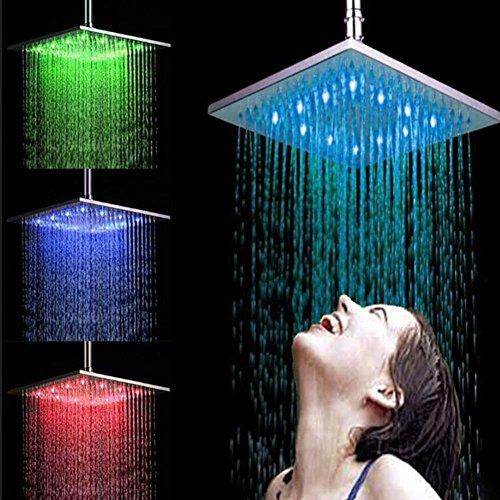 Preisvergleich Produktbild Duschen Wasserhahn Duschkopf LED Quadratische Overhead Shower Interface Standard 8 Zoll Messing Bad Regen Mixer Wasserhahn
