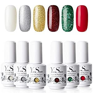 Yao Shun Gel Nail Polish 8ML UV LED Soak Off Nail Gel Polish 6 Colours Christmas Gift Set Varnish Manicure Kit
