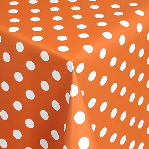 Wachstuch Tischdecke Gartentischdecke mit Fleecerücken Gartentischdecke, Pflegeleicht Schmutzabweisend Abwaschbar Punkte Orange Weiss 300x 140 cm - Größe wählbar