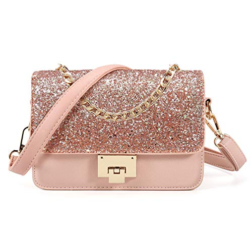 SOOHAO Mädchen taschen klein Handtasche Rosa Umhängetasche Damen Glitzer Clutch für Party