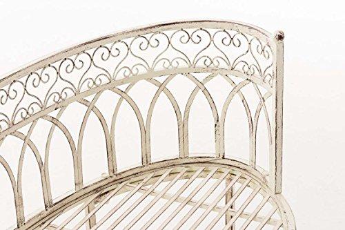 CLP Metall-Gartenbank AMANTI mit Armlehne, Landhaus-Stil, Eisen lackiert, Design antik nostalgisch, Form oval ca. 110 x 55 cm Antik Creme - 6
