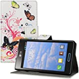 kwmobile Wallet Case Kunstlederhülle für LG Optimus L7 II - Cover Flip Tasche in Schmetterlinge Hippie Design mit Kartenfach und Ständerfunktion in Mehrfarbig Pink Weiß
