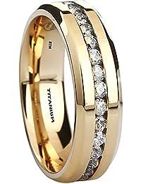Titanium Ring - 6mm Wide Classic Gold Tone Unisex Wedding Engagement Band Ring