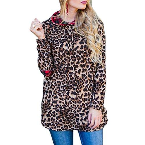 erter Leopard-Druck Kapuzenpullover für Damen,FRIENDGG Lange Ärmel Herbst Beiläufig Winter Mode Sweatshirt Hoody Pullover Mantel Outwear Jacke Bluse ,Damen Hoodie (Mehrfarbig, L) (Kinder Converse Leopard)