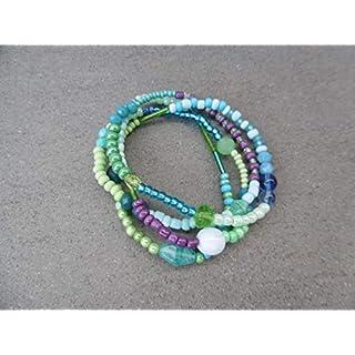 Armband Böhmische Glasperlen Perlenarmband Handarbeit elastisch Stretch Wickelarmband bunt Aqua türkis lila hellblau grün Sommer Gipsy Hippie Boho Ibiza Style Kette