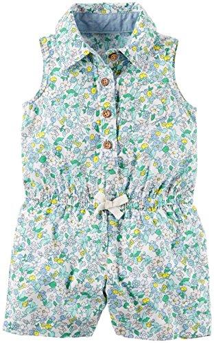 Carters Jumpsuit (Carter's Jumpsuit 56/62 Baby Sommer Overall Einteiler Body Mädchen Girl Onesie Blumen US Size 3 Month (3 Month, Weiss/Grün))