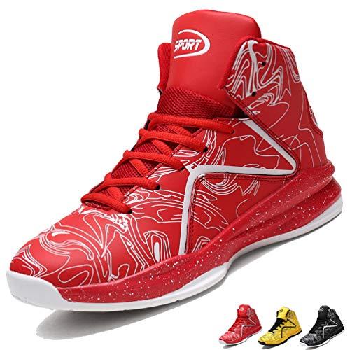LANSEYAOJI Homme Baskets de Basket-Ball Légères Antidérapantes Chaussures de Course Mode Sneakers High-Top Lace Up Chaussures de Sport Gymnase Entraînement Chaussures de Athlétique,Rouge,EU45