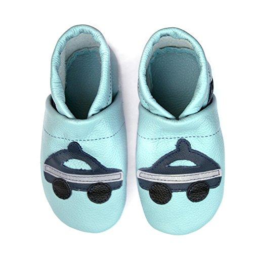 Couro Rastejando Bebê Couro Lauflernschuhe Sapatos Com Sapatos Hellblau eu De Polícia Pantau blau r6Iq8Br