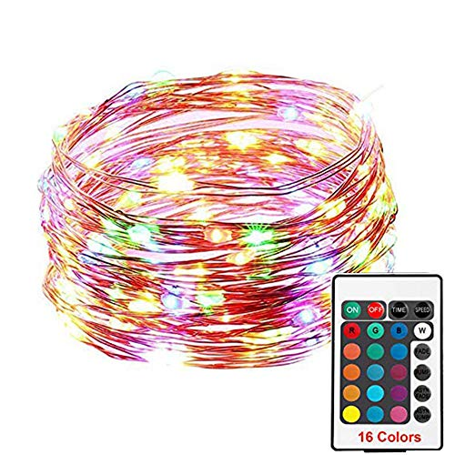Gaddrt Indoor Outdoor Draussen Lichterkette Weihnachtsdekor Lichterkette Electric Plug-in Multi Farbwechsel 100 Led IP66 (Mehrfarbig)