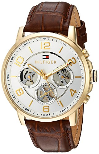 Tommy Hilfiger Men's Quartz Gold-Tone and Leather Casual Watch, Color Brown (Model: 1791291)