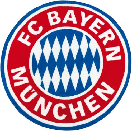FC Bayern München Fan Teppich 100cm rund Logo Bundesliga Fussball kinderland24 (Fußball Teppiche)