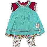 anja-wendt Set Baby Mädchen Sommer Kleid Tunika mit Leggins aufgenähte Blume Türkis blau bunt festliches schickes Outfit pink kleine Rüschen (86)