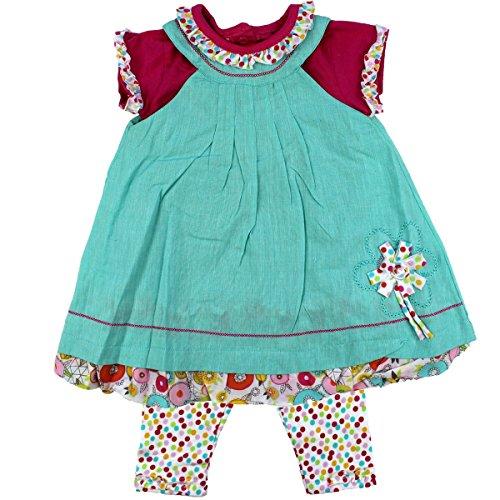 Mädchen Sommer Kleid Tunika mit Leggins aufgenähte Blume Türkis blau bunt festliches schickes Outfit pink kleine Rüschen (80) ()