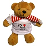 Llavero de oso marrón de peluche con Amo Miguel Angel en la camiseta (nombre de pila/apellido/apodo)