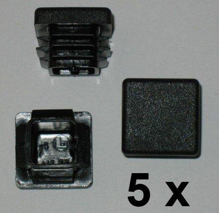 5 x Côtelé branche tube carré bouchons 22 x 22 mm (extérieur)-plug-noir