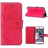 MOONCASE iPhone 6S Bookstyle Étui Fleur Housse en Cuir Case à rabat pour iPhone 6 / 6S 4.7-pouce Coque de protection Portefeuille TPU Case Rose