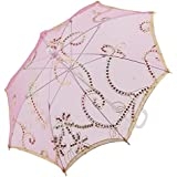 Tradico® Fuchsia, Gold Tone, Silver Tone, White: Floral Pattern Lace Lady Dancing Sequin Decor Handle Foldable...