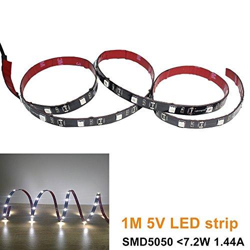 30 Cove Beleuchtung (lightingwill 5V USB LED Flex Strip 100cm (101,6cm) Tageslicht Weiß Firstlight Moodlight Kit im Auto Wohnmobil-mit SMD5050LED für Hintergrundbeleuchtung von TV Desktop Laptop Tablet PC und, schlank, 2Beleuchtung in Home & Küche)