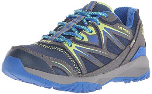 Merrell Capra Bolt Lace Waterproof, Chaussures de Randonnée Basses Garçon, Multicolore (NAVY/CITRON), 35