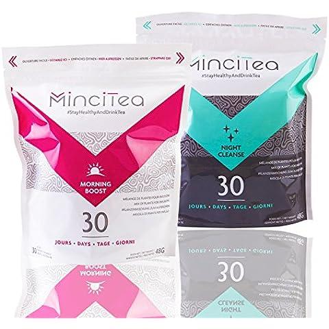 Mincitea–Dieta detox giorno - notte 30giorni –tè dimagrante, bruciatore di grassi