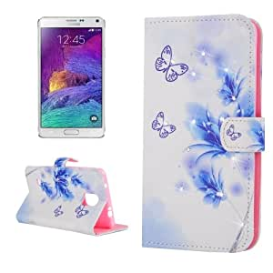 Crazy4Gadget Butterflies Love Flower Pattern Horizontal Flip Diamond Encrusted Leather Case with Holder & Card Slot & Wallet for Samsung Galaxy Note 4 / N910