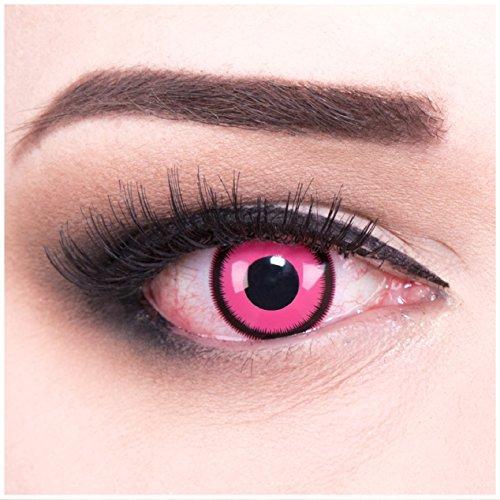 Funnylens 1 Paar farbige pinke rosa Rose Lunatic Jahres Kontaktlinsen perfekt zu Halloween, Karneval, Fasching oder Fasnacht mit gratis...