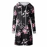 QIYUN.Z Frauen Beiläufiges Mit Blumen Gedrucktes Mit Kapuze Kleid Langes Kapuzenpulli Sweatshirts