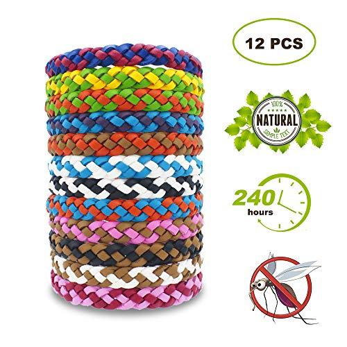 Vegena 12 Stück Mückenschutz Armband, Moskito Armband Wiederverwendbares Anti Mücken Armband aus Natürliches Material für Kinder, Erwachsene - Citronella Öl, Mückenschutz