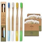 Spazzolino da denti di bamboo ecologico e biodegradabile | Manico arrotondato senza plastica | Setole medio dure senza BPA | 100% Naturale | Set di 4 spazzolini | OMAGGIO 200 cotton fioc in bambu