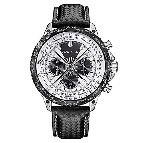 Männer DREI sechspolige analoges Quarzwerk Leder Luxusuhr Kalender leuchtende wasserdichte Uhr großes Zifferblatt