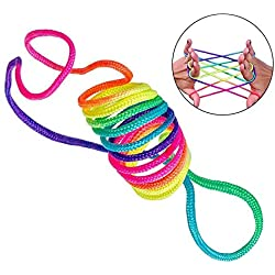 Augproveshak Finger String Game, Rainbow Rope Finger Toys, Cat's Cradles String Games Rope, Kids Educational Toys, 2~10Pcs