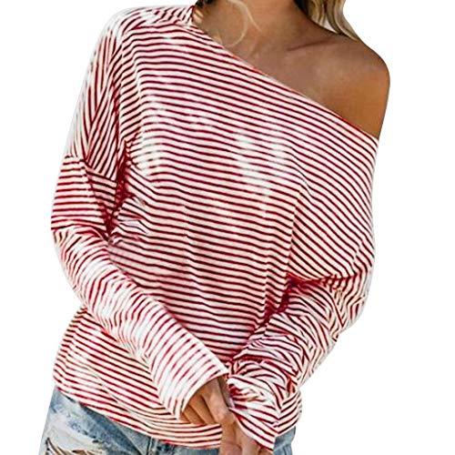 Junjie Mode Frauen Casual Langarm Skew Kragen Shirts Streifen Casual Tuniken Tops 2019 Mädchen Kleid Kleidung Hals weiß Bogen Ärmel Beige, Rot, Blau -