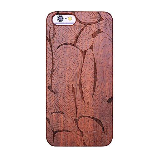 Forepin® Coque en Bois Naturel pour iPhone 5 / 5G / 5S / SE, Santal Réel Etui Couvert et Housse en Plastique Dur dans Motif de Sculpté élégante Protecteur Pare-chocs Case - Crâne Motif Sculpté Art abstrait