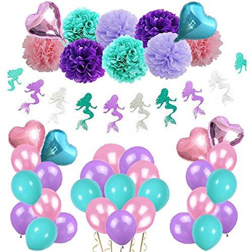 Eillybird Geburtstagsdeko Kindergeburtstag Banner Geburtstag Meerjungfrau Thema Deko Set 45 Stück Dekoration Happy Birthday Luftballon Party Dekoration für Mädchen Jungen