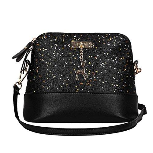 Handtasche Damen Btruely Mädchen Messenger Crossbody Vintage Tasche Damen Kleines Shell Leder Handtasche (T Schwarz) -