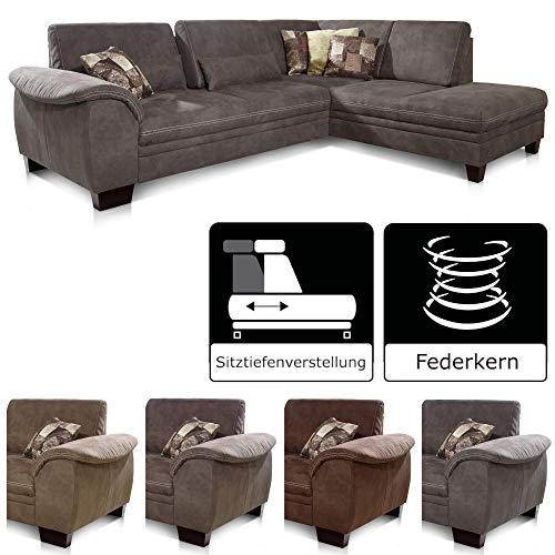 CAVADORE Ecksofa Hussum mit Ottomane rechts / Große Couch mit Federkern im Landhausstil / Inkl. verstellbarer Sitztiefe / 269 x 90 x 219 / Grau