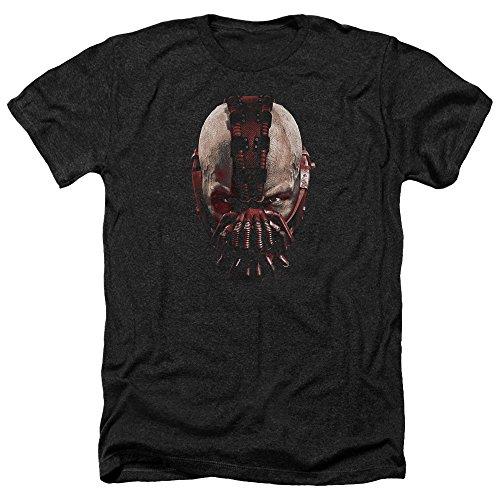 Trevco Herren Dark Knight Rises Bane Mask Adult Heathered T-Shirt, Heather Black, X-Groß (Knight Dark Bane Rises)