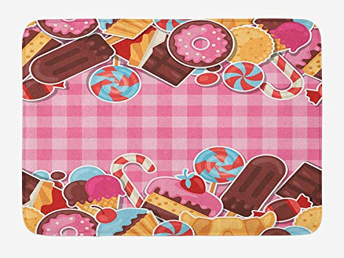 ZKHTO Ice Cream Bath Mat, Candy Cookie Sugar Lollipop Cake Ice Cream Girls Design, Plush Bathroom Decor Mat with Non Slip Backing, 23.6 W X 15.7 W Inches, Baby Pink Chestnut Brown Caramel Brown Sugar Bowl