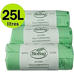 25 x 75 Liter kompostierbar Caddy Staubsaugerbeutel für kompostierbare Abfälle Komposteimer für die Küche, 25 Stück, EN 13432, mit Taschen BIO-Mülltüten Treteimer Kompostierung Guide
