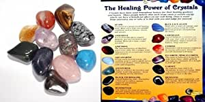 The Healing Power of Crystals 11 stone gift set, includes a crystal information colour sheet and an organza gift pouch.